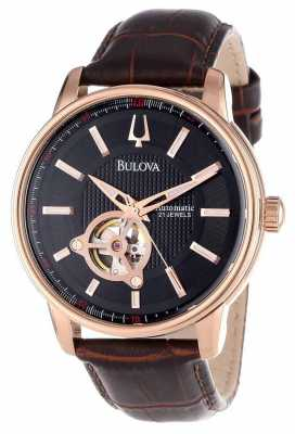 Bulova Men's Automatic Rose Gold Brown Leather Strap Watch 97A109