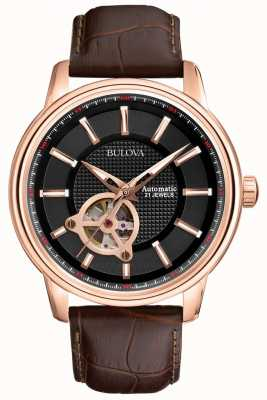 Bulova Mens Automatic Rose Gold Brown Leather Strap Watch 97A109