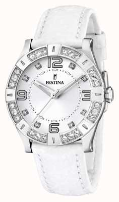 Festina Womens' Stainless Steel Crystal-Set White Leather Strap Watch F16537/1