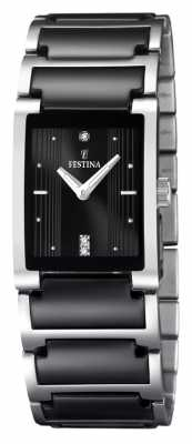 Festina Womens' Black Ceramic Stainless Steel Rectangular Dial Watch F16536/2