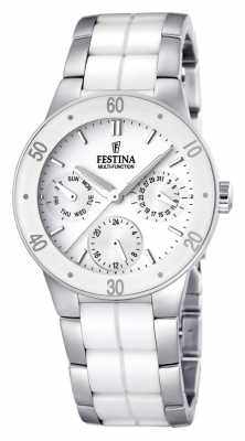 Festina Womens' White Ceramic & Stainless Steel Multi-Dial Watch F16530/1