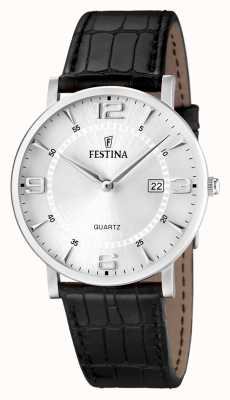 Festina Mens Stainless Steel Black Leather Strap Watch F16476/3