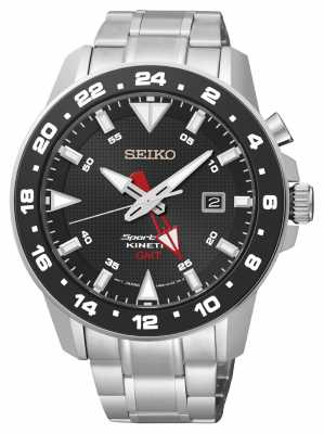 Seiko Mens Sportura Kinetic Stainless Steel Black Dial Watch SUN015P1