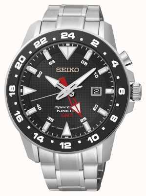 Seiko Mens Sportura Kinetic Stainless Steel Black Dial Watch SUN015P1