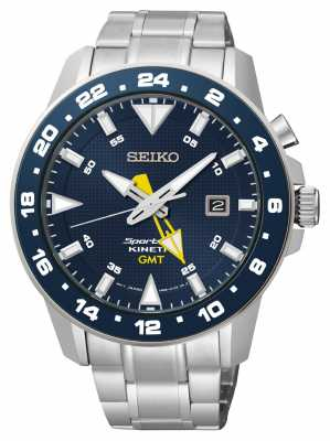 Seiko Men's Sportura Kinetic Stainless Steel Blue Dial Watch SUN017P1