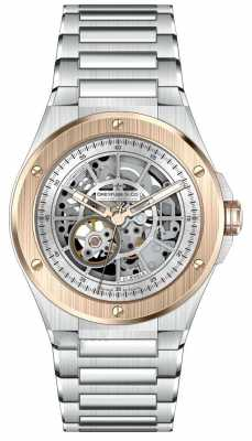 Dreyfuss Mens Automatic 1890 Steel & Rose Gold Skeleton Dial Watch DGB00081/06