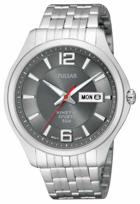 Pulsar Men's Kinetic Sport Stainless Steel Grey Dial Watch PD2035X1