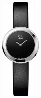 Calvin Klein Womens' Firm Stainless Steel Black Leather Strap Watch K3N231C1