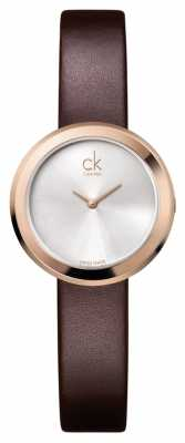 Calvin Klein Womens' Firm Rose-Gold Brown Leather Strap Watch K3N236G6