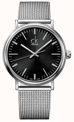 Calvin Klein Mens Surround Black Dial Mesh Strap Watch K3W21121