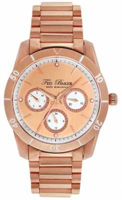 Ted Baker Womens' Rose Gold Crystal Set Multi Dial Watch TE4084