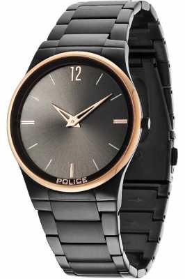 Police Mens Black Dial Black Bracelet Gold Detail Watch 12744JRSBR/61M