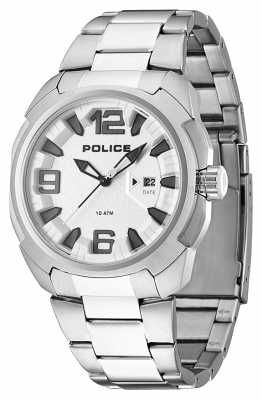 Police Mens Texas Black Ion-Plated Steel Grey Dial Leather Watch 13836JS/04M