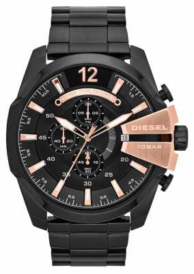 Diesel Men's Mega Chief Black Ion Plate & Rose Gold Watch DZ4309