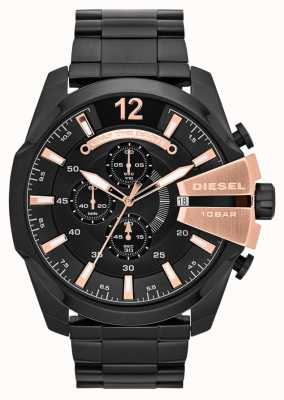 Diesel Mens Mega Chief Black Ion Plate & Rose Gold Watch DZ4309