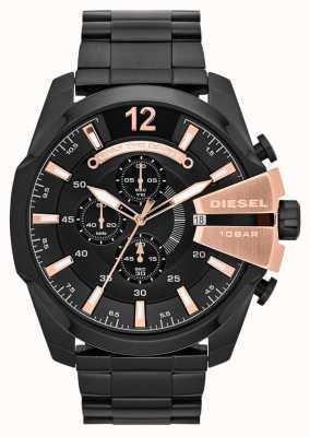 Diesel Mens Mega Chief Black Ion Plate & Rose Gold Watch DZ4309