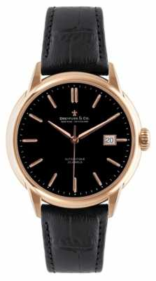 Dreyfuss Mens Rose Gold/Black Leather Strap Automatic Watch DGS00077/04