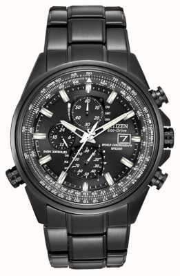 Citizen Mens Black Ion-Plated Steel World Time Chronograph Watch A-T AT8025-51E