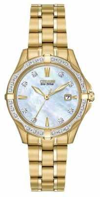 Citizen Womens' Silhouette Diamond Gold Plate Pearl Dial Diamond Set Watch EW1922-58D
