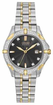 Citizen Womens' Silhouette Diamond Two Tone Black Dial Crystal Set EW1924-52H