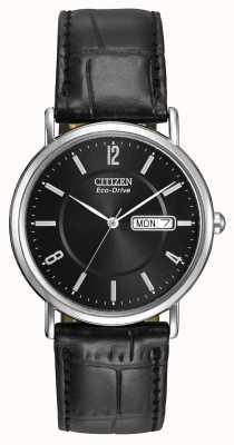 Citizen Mens Black Leather Strap Eco-Drive BM8240-03E