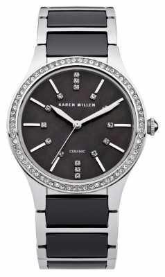 Karen Millen Womens' Black Ceramic Stainless Steel Crystal Set Watch KM122BM