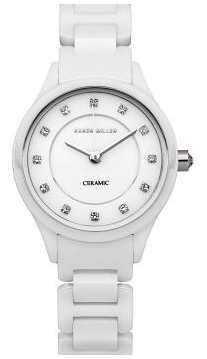 Karen Millen Womens' White Ceramic Crystal Set Watch KM132WC