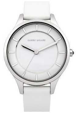 Karen Millen Womens' Stainless Steel White Dial Leather Strap Watch KM133W