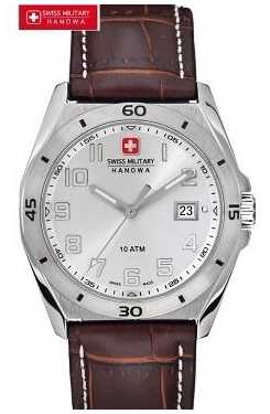 Swiss Military Hanowa Mens Guardian Stainless Steel Brown Leather Watch 6-4190.04.001.05