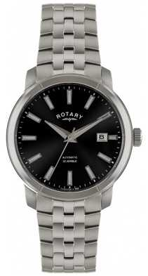 Rotary Men's Stainless Steel Black Dial Watch GB02810/04
