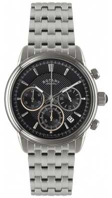 Rotary Men's Stainless Steel Black Dial Chronograph GB02876/04
