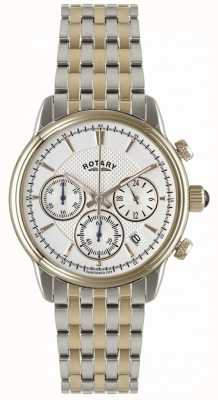 Rotary Mens Two Tone White Dial Bracelet Watch GB02877/06