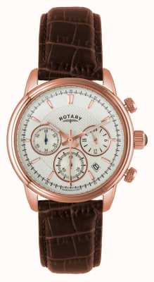 Rotary Mens Rose Gold Plate White Dial Brown Leather Chronograph GS02879/06
