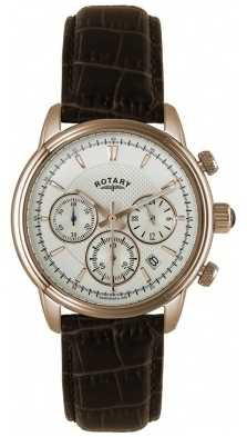 Rotary Mens Gold Plate White Dial Brown Leather Chronograph GS02879/06