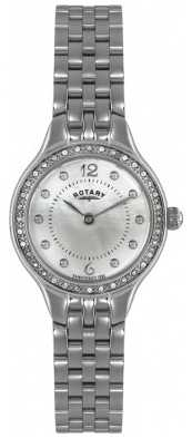 Rotary Womens Steel, Pearl Dial, Crystal Watch LB02866/06