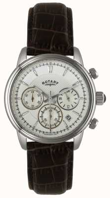 Rotary Mens Stainless Steel White Dial Black Leather Watch GS02876/06