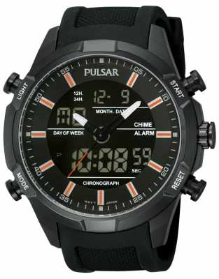 Pulsar Men's Black IP Steel Digital/ Analog Watch PW6007X1
