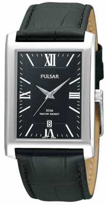 Pulsar Men's Stainless Steel Black Rectangular Dial Leather Watch PXDB71X1
