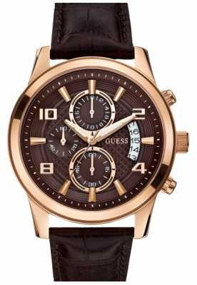 Guess Men's Exec Rose Gold & Brown Chronograph W0076G4