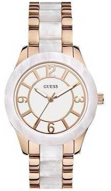 Guess Womens' Goddess Rose Gold & Pearl Watch W0074L2