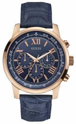 Guess Men's Horizon Rose Gold & Blue Chronograph W0380G5