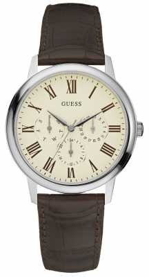 Guess Men's Wafer Stainless Steel Cream Dial Brown Leather Watch W70016G2
