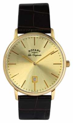 Rotary Men's Kensington Les Originales Gold Plate Gold Dial Watch GS90052/03