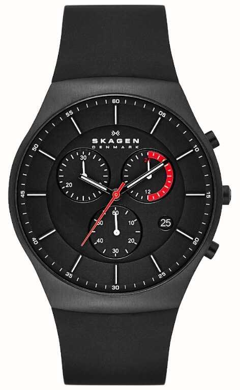 Skagen Mens Black Rubber Battery Powered Quartz Analog
