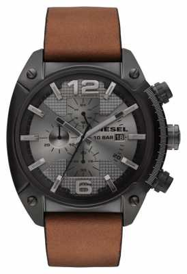 Diesel Men's Overflow Grey Steel Brown Leather Watch DZ4317