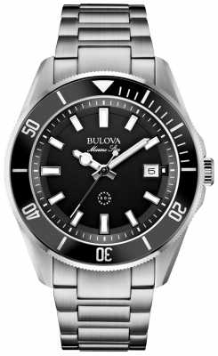 Bulova Mens Marine Star Black Bezel/Dial & Stainless Steel Watch 98B203