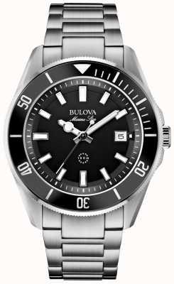 Bulova Mens Marine Star Black Bezel/Dial & Stainless Steel Watch 98B203