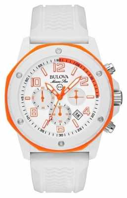Bulova Men's Marine Star Orange & White Rubber Strap Watch 98B199