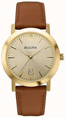 Bulova Men's Classic Dress Brown Leather Strap Watch 97B135