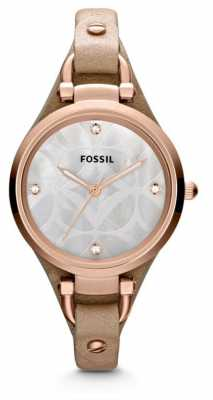 Fossil Ladies Georgia Sand Leather Strap Watch ES3151